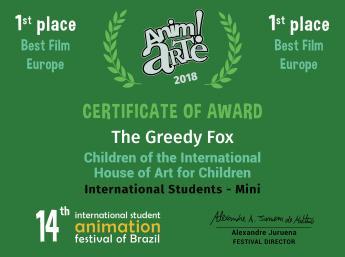 1. cenu za najlepší film (Best Film) a 1. cenu za najlepší európsky film (Best Film – Europe)