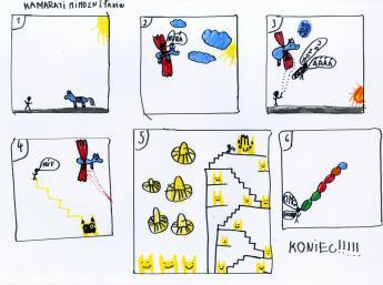 Výber z komiksov detí vytvorených na workshope k výstave Krajina komiksu