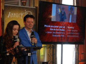 Sofia Vöröšová (SK), členka poroty a Marcel Jean, umelecký riaditeľ festivalu Annecy, CITIA (Cité de l´image en mouvement)